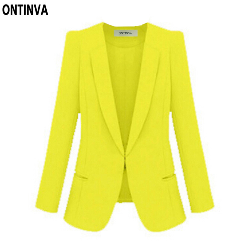 Ladies Yellow Blazer Feminino Plus Size 4XL Formal Jacket Women's White Blaser Rosa Female Blue Women Suit Office Ladies
