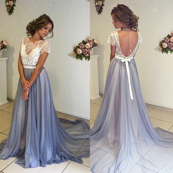 sexy Backless Lace A-Line Evening dresses Long O-Neck Short Sleeve Formal Evening Gowns Dress Vestido de noche robe de soiree