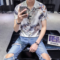 2018 Summer Ins Super Fire New Short Sleeved Shirt Men S Lapel Bird Print Shirt Korean