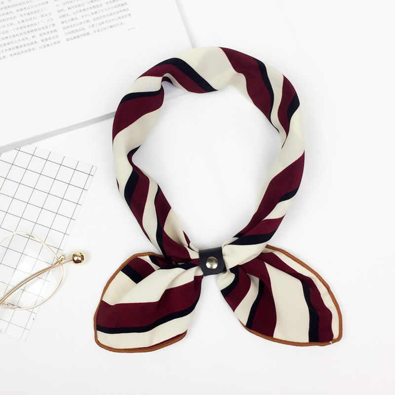 Femme petite écharpe en coton imprimé carré foulards femmes foulard 2018 hiver automne dames châles Bandana Hijab 50 cm foulard