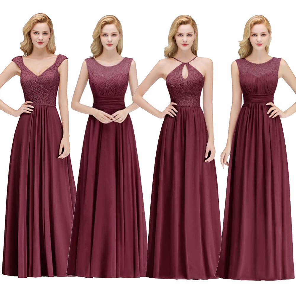 6 Styles Long Burgundy Cheap Bridesmaid Dresses A-Line Sleeveless Chiffon Vestido Da Dama De Honra Wedding Party Prom Dress