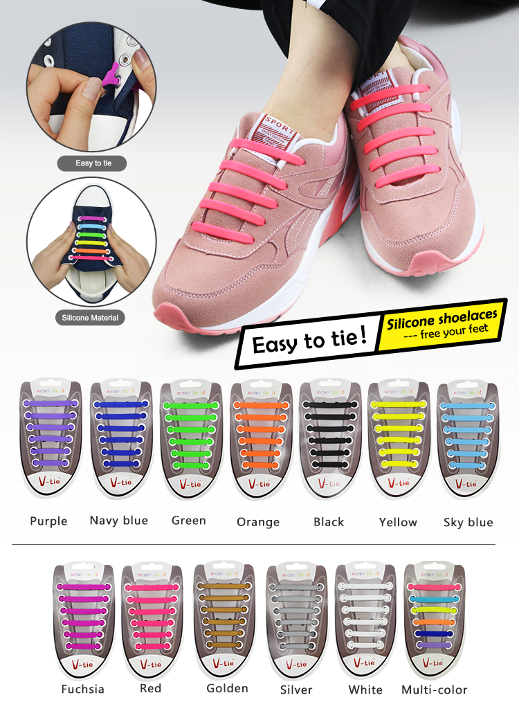 2021 NEWS 12Pc/Set Children Athletic Running No Tie Shoe Lace Elastic Silicone Shoelaces All Sneakers Fit Strap Shoeslace