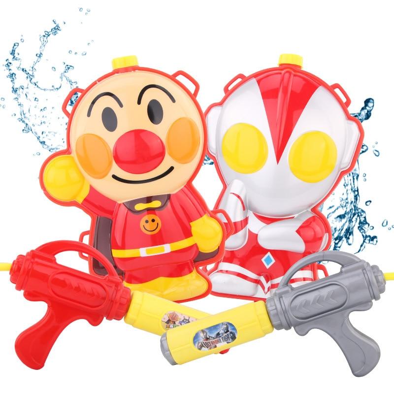 Children Backpack Water Gun Toy Boy Altman Meatballs Crayons Anpanman Pull Water Gun Cartoon 3D Stereo Water Gun Summer Toy Gift