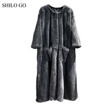 SHILO GO Fur Coat Womens Winter  Fashion whole real Mink Fur X-long coat O Neck long sleeve A Line big skirt side pocket loose