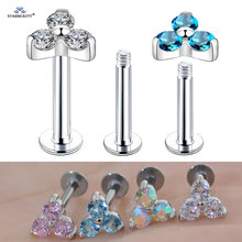 Starbeauty 1pc 1.2x6/8mm 16G Round Crystal Nose Piercing Helix Earring Stud Barbell Lip Piercing Tragus Piercing Labret Jewelry(China)