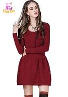 Chest 80 90cm New 2016 Black Red Mini Vintage Women Sweater Dress Autumn Winter Vestidos Long
