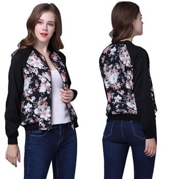 Flower Print Women Basic Coat Autumn Winter Long Sleeve Zipper Jacket Top