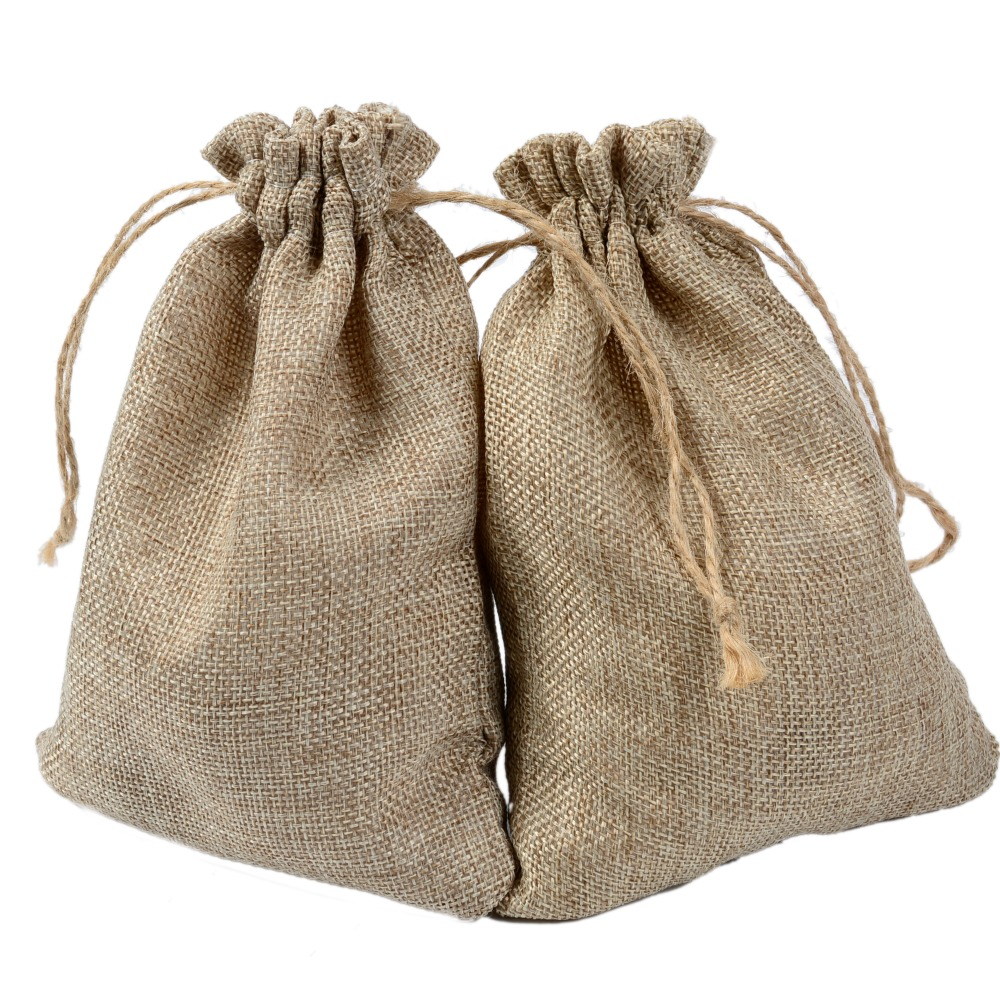 Us 37 48 15 Off Natural Burlap Bags 13 18cm Candy Gift Wedding Party Favor Pouch Jute Hessian Drawstring Sack Small In