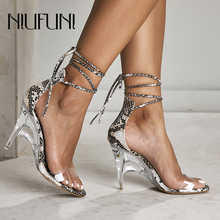Sexy Snake Pattern Transparent Peep Toe Women's Sandals Stiletto Crystal High Heels Ankle Straps Women Casual Shoes NIUFUNI 2019