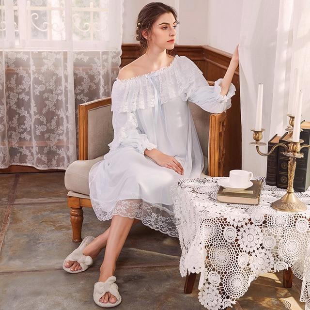 2b98b8fc17 Beautiful Sweet Lace Mesh Cotton Nightgowns for Women Aesthetic Elegant  Princess Night Dress Sexy Nighty Spring Autumn Sleepwear