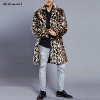 Fashion heren luipaard jas winter dikker faux bontjassen pluizige jas voor mannen lange bont jas grote size warm overjas tops 3xl