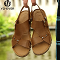 100% genuine leather men sandals-handmade Summer fashion brand beach slippers Men plus size casual sandals moccasin shoes  36