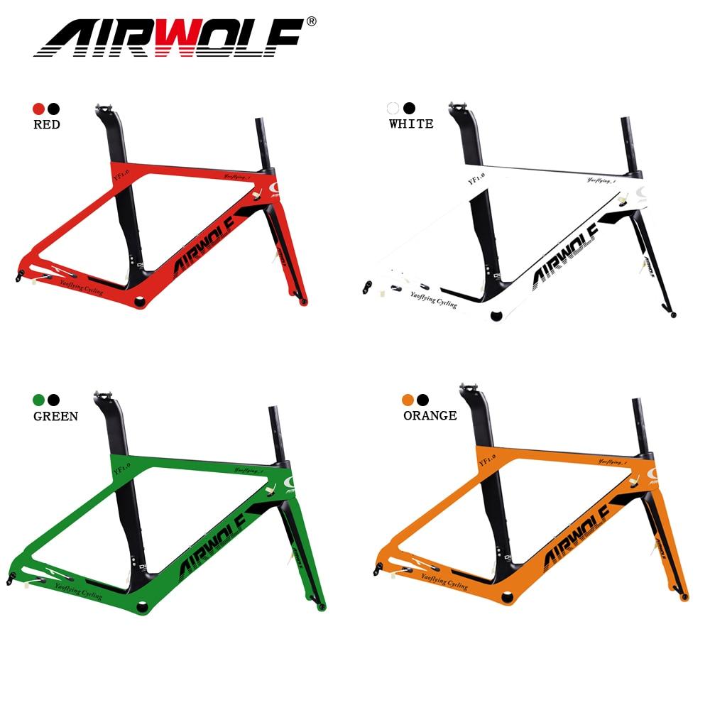 Airwolf Multi Color Paint carbon road disc frame Di2 Mechanical UD black Full carbon road bike