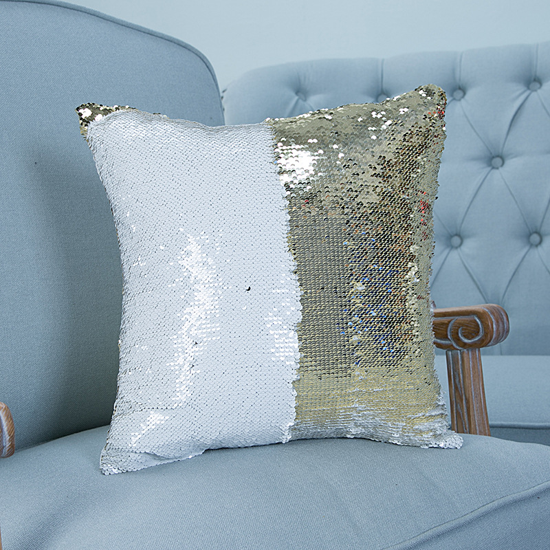 Pillowcase Decorative Mermaid Sequin Colorful Square Plain Knitted Hidden Zipper Pillow Home Car Sofa Cushion Cover 40 40cm In Cushion Cover From Home