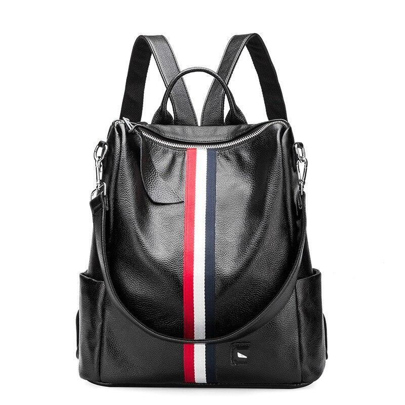 Haute qualité authentique en cuir sac à dos femmes mode sacs d'école adolescente filles grande capacité décontracté dames sacs à dos noir