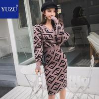 Winter Sweater Dresses Women 2018 High Quality Korean V Neck Pencil Jacquard Geometriclong Batwing Sleeve Knee length Dress