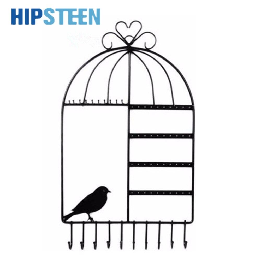 HIPSTEEN Montaje en pared Birdcage Pendientes con forma de collar - Organización y almacenamiento en la casa