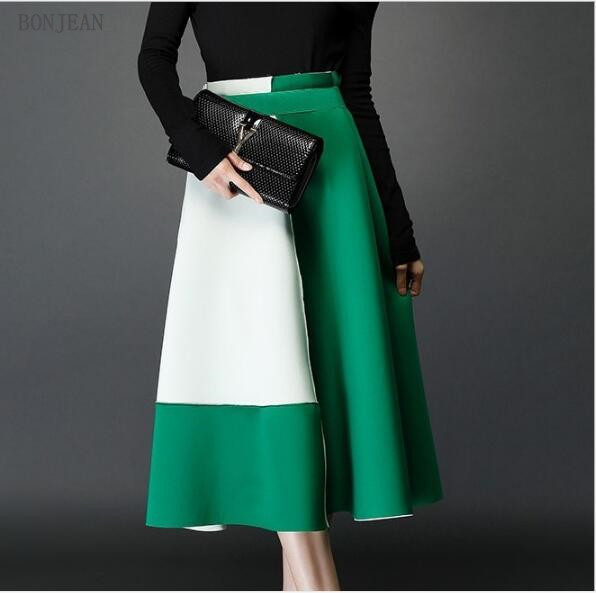 2018 Rushed Knee-length Solid A-line Free Shipping Woman European Personality New Winter A Word Skirt Waist Color In The Long