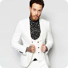 White Men Suits Business Wedding Suits Blazer Custom Slim Fit Casual Groom Tailored Tuxedo Best Man Prom Terno Masculino 3Pieces men s light grey slim fit wedding tailored suits groom tuxedo 2 pieces business men suits terno masculino jacket pants prom suit