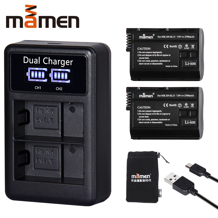 2 Pcs EN-EL15 EN EL15 ENEL15 EL15A Bateria Câmera Digital + LCD USB Dual Carregador para Nikon D810 D7000 d750 v1 D610 D600E D800E