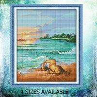 JoySunday muliną córka plaża morze błękitne niebo drzewa kokosowego DMC14CT11CT bawełna bawialnia robótki malowanie