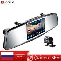 Ruccess Mirror Recorder Car Radar Detector for Russia Full HD 1080P Dual Lens Camera Registrar 3 in 1 DVR Anti Radar with GPS