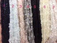 Bianco, grigio, viola, rosa/nero 3D fiori su rete/maglia ricamato da sposa/evinging/mostra tessuto di pizzo abito da yard XX66