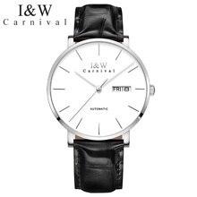 Carnival-Relojes de pulsera mecánicos para hombre, automático, resistente al agua, con movimiento Seiko
