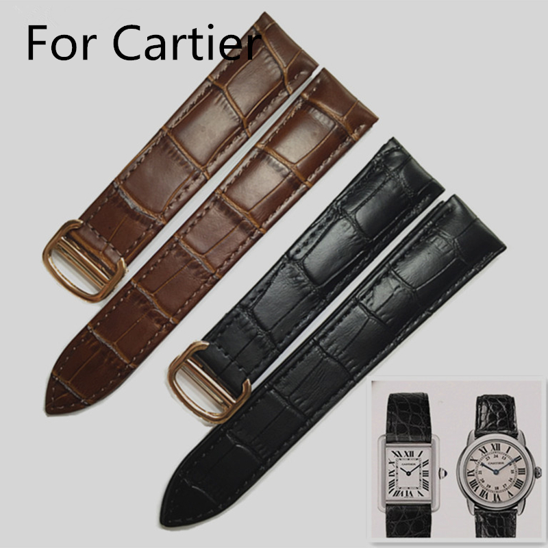 16mm/18mm/20mm/22mm/25mm Black Brown Leather Watchband bracelet For Cartie Blue r Balloon Santos Tank With Clasp And LOGO