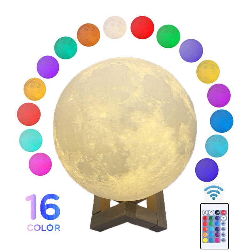 Круглый светодиодный ночник с 3D-принтом, лунная лампа, красочное изменение USB, перезаряжаемый сенсорный выключатель Luna Moonlight, домашнее украшение, креативный