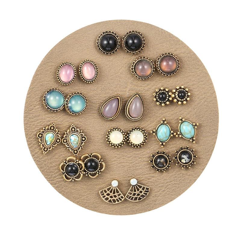 Luxury Retro Geometric Waterdrop Crystal Resin Stud Earrings 12 Pairs/lot 2019 Minimalism Stone Brinco Set For Women Kolczyki-in Stud Earrings from Jewelry & Accessories on AliExpress