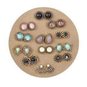 Luxury Retro Geometric Waterdrop Crystal Resin Stud Earrings 12 Pairs/lot 2019 Minimalism Stone Brinco Set For Women Kolczyki