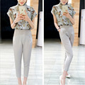 2015 summer new silk blouse stamp nine pants fashion ladies casual suit female summer Chaohao quality