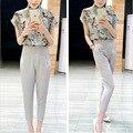 2015 verano nueva blusa de seda sello nueve pantalones de moda casual de las señoras traje de verano femenino Chaohao calidad