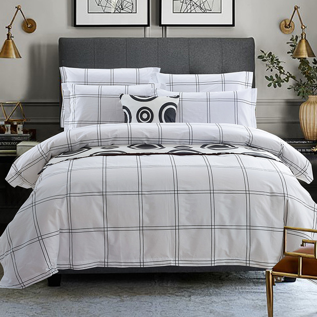 Plaid Hotel Style Bedding Sets 4pc Duvet Cover Flat Sheet Pillowcase Queen King Bed
