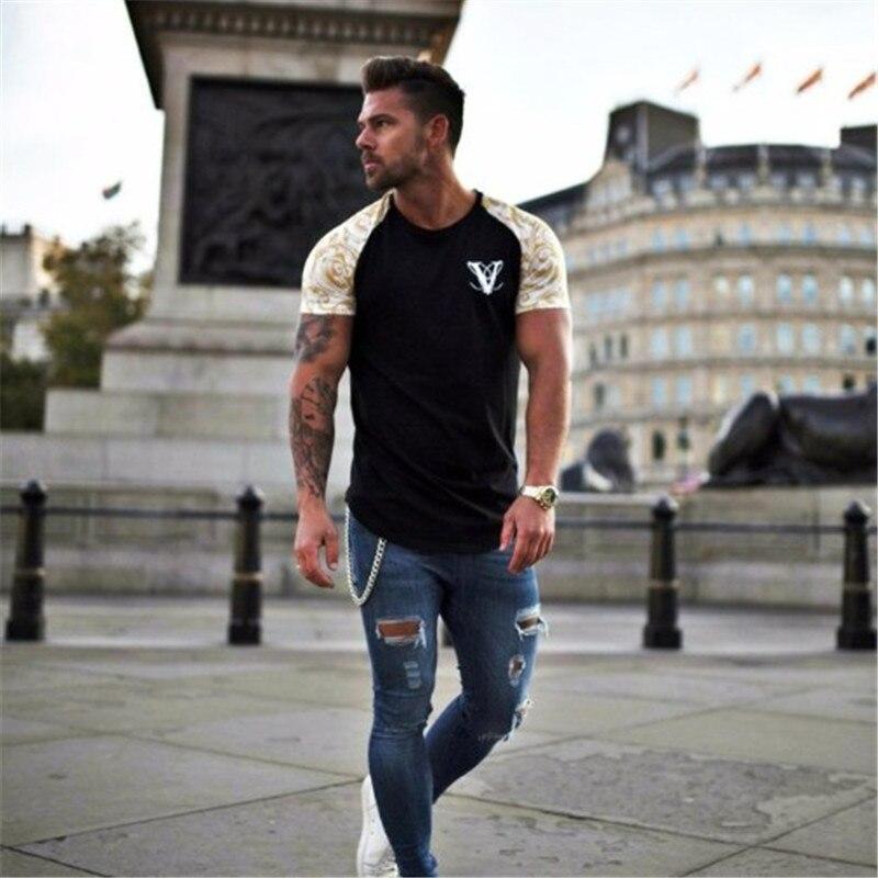 Short Sleeve O-neck Stripe Printed Loose Slim T shirt Mens 2