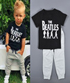 2015 мальчиков комплект Beatles напечатаны мальчик одежда высокое качество марка черный майка + брюки серый летний стиль vetement enfant