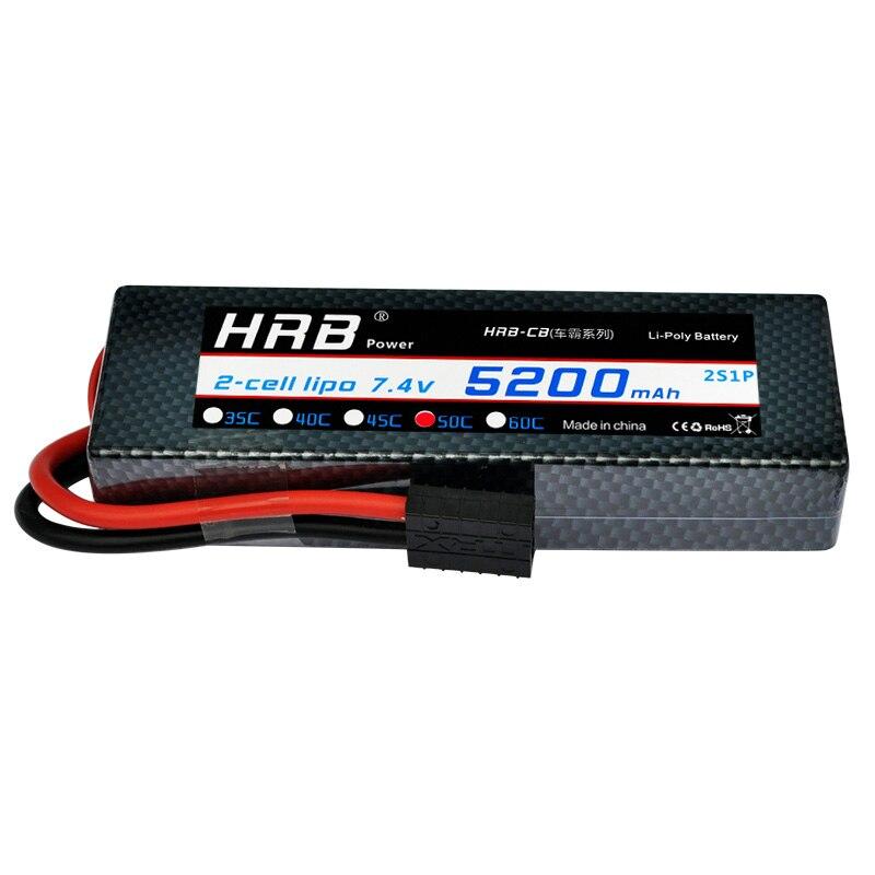 2 pièces HRB RC voiture LiPo 2 s batterie 7.4 V 5200 mah 50C MAX 100C étui rigide batterie pour Evader BX Traxxas Slash 4x4 1/10 hélicoptère