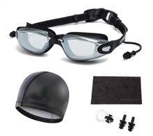 Swimming Goggles Suit(Prescription 0-8.0 Diopters), Nearsighted Myopia swim goggles+Swimming cap+Nose Clip+Ear Plugs+Dry Cloth
