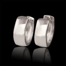 MxGxFam гладкие серьги-кольца(15x6 мм) белого золота Цвет Женщины Без камня навсегда классический стиль