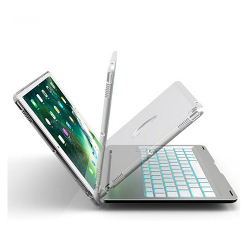 "Agressief Witsp @ D-voor Ipad Air 2019 3rd Gen/ipad Pro 10.5 ""2017 Aluminium Shell Smart Folio Case Met 7 Kleuren Back-lit, Auto Sleep/wake Up"