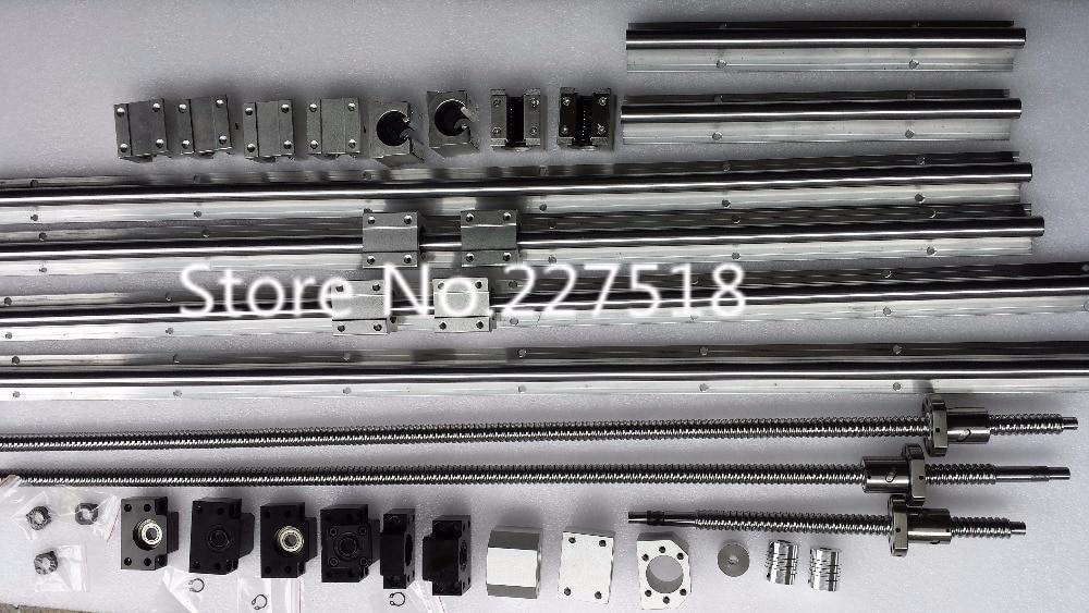 6 sets linear rail SBR16 L300/1500/1500mm+SFU1605-300/1550/1550/1550mm ball screw+4 BK12/BF12+4 DSG16H nut+4 Coupler for cnc цена