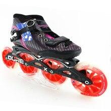 Patines de velocidad en línea profesional de fibra de Carbono mujeres/hombres carreras de patines en línea zapatos de patinaje hijo adulto patins roller