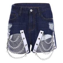 Harajuku Ripped Chain Denim Short Pants SF