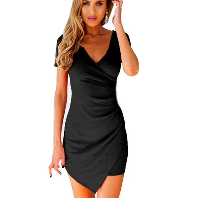 Michael Kors Wrap Dress Women Summer Irregular Dress Bodycon Mini Dress Wrap Dress Evening Party  Dresses Black