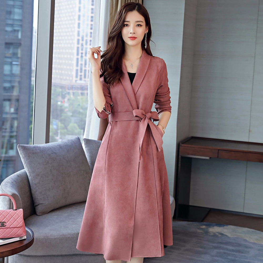 high quality Spring Autumn Suede Blazer 2018 new female Slim thin long temperament suede   trench   coat Pure color   Trench   Coat