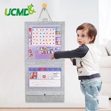 Magnetic Felt Fabric Weekly Reward Chart Chore Record Growth Hang Calendar Adjustable Clock Notes For Kids Gift Room Decor