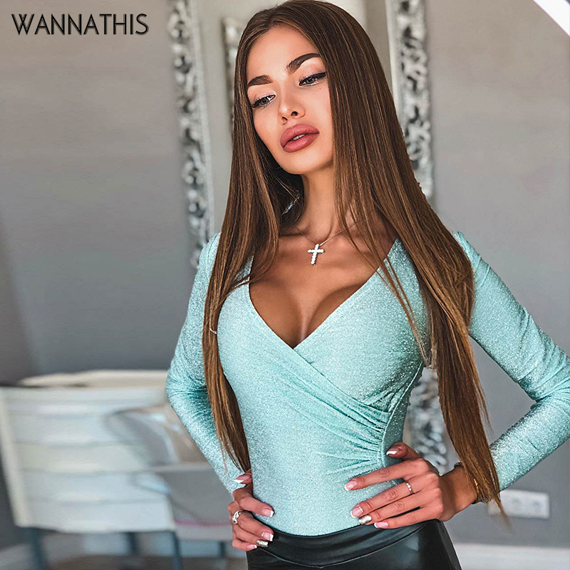 WannaThis Sexy V-neck Bodysuit Long Sleeve Slim Skinny Cross Women Autumn Festival Bodycon Party Fashion Casual Body Female