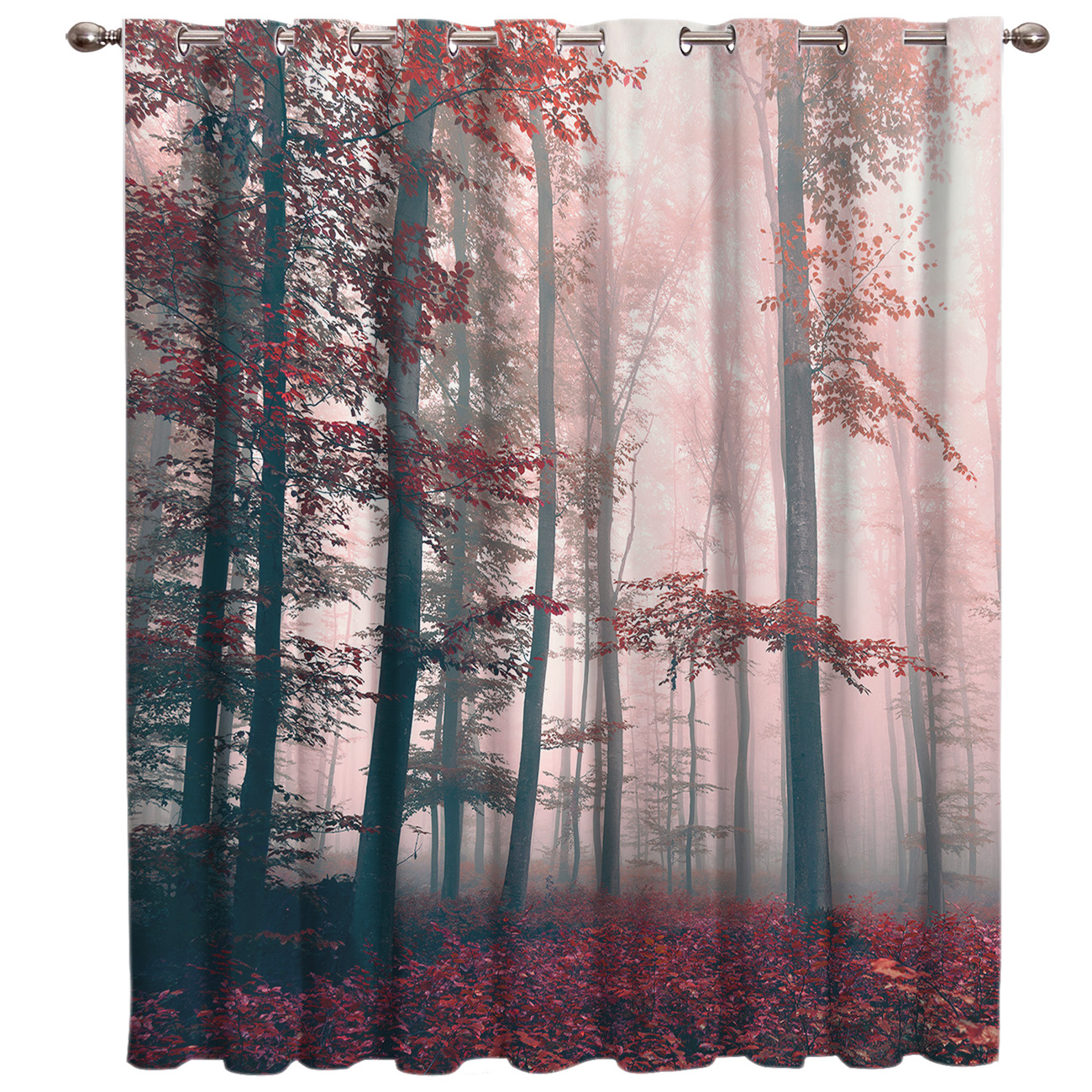 Red Mysterious Maple Leaves Forest Window Treatments Curtains Valance Window Curtains Dark Curtain Lights Living Room Bathroom