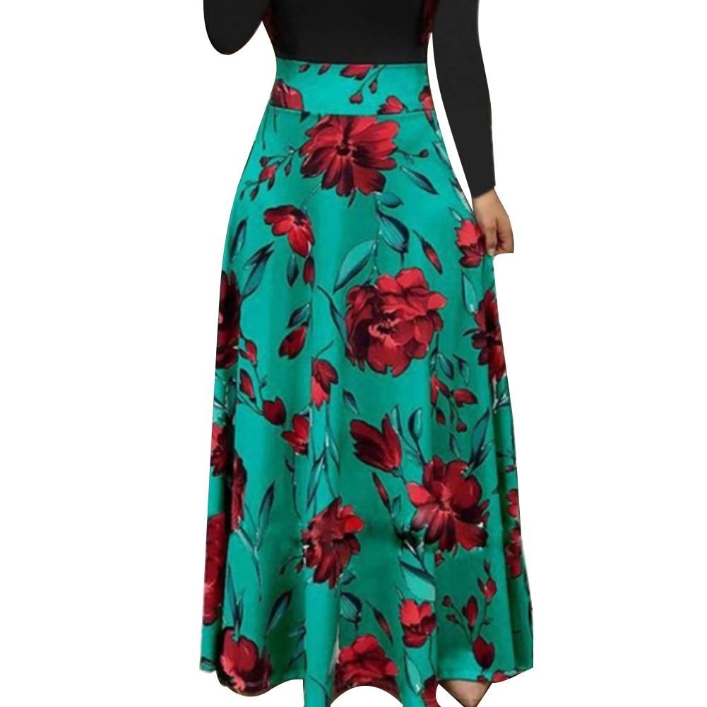 HTB1XKLYXYr1gK0jSZFDq6z9yVXaJ New Summer Flower Dot Print Color Matching Long Sleeve High Waist Women Maxi Dress